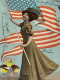 Postcard of Woman Waving American Flag