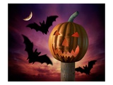 Scary Pumpkin and Bats