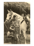 China Poblana in Native Garb with Horse  Mexico