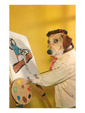 Dog at Easel  Retro