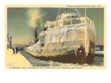 Iced Over Freighter  Davis Lock  Lake Superior  Michigan