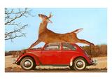 Giant Deer Tied on Volkswagen