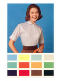 Woman in Blouse  Paint Chips  Retro