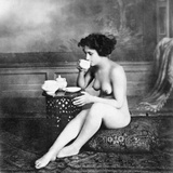 Nude Drinking Tea  19Th Ct