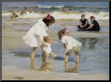 Enfants jouant au bord de la mer Reproduction montée par Edward Henry Potthast