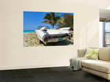 Classic 1959 White Cadillac Auto on Beautiful Beach of Veradara  Cuba