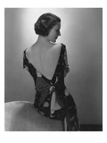 Vogue - February 1934 - Model in Printed Dress with Low-Cut Back