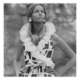 Vogue - June 1968 - Veruschka in Sleeveless Print Dress