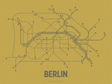 Plan de Berlin, Allemagne : gris acier sur ocre - réseau de transports Sérigraphie par LinePosters