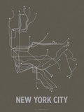 New York City (Charcoal Brown & Silver) Sérigraphie par LinePosters