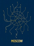 Moscow (Navy & Gold) Sérigraphie par LinePosters