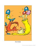 Fox in Socks (on orange) Reproduction d'art par Theodor (Dr. Seuss) Geisel