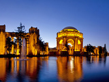 Panoramic of the Palace of Fine Arts at Dusk in San Francisco  California  Usa