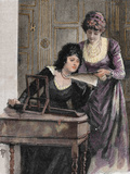 Women with a Harpsichord Colored Engraving  1895