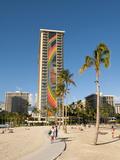 Lake and Skyline of Rainbow Tower of Hilton's Waikiki Village in Waikiki Beach  Honolulu  Hawaii