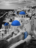 Bell Tower and Blue Domes of Church in Village of Oia  Santorini  Greece
