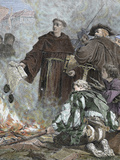 German Reformer  Luther Burning the Papal Bull 'Exsurge Domine' (1520) of Pope Leo X