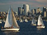 Sailboats Race on Lake Union under City Skyline  Seattle  Washington  Usa