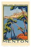Menton  Paris - Lyon - Méditerrenée: France Railway Company  c1920s