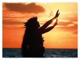 To Ask a Blessing: Hawaiian Hula Dancer at Sunset