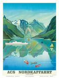 HAPAG Cruise Line: Nordkapfahrt - North Cape and Norwegian Fjords  c1957