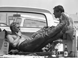 Actor Steve McQueen and Stuntman Bud Ekins During the Mojave Desert Motorcycle Race  May 1963