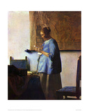 Woman in Blue Reading Giclée par Johannes Vermeer