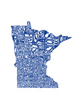 Typographic Minnesota Blue