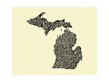Typographic Michigan Beige Background