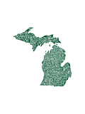 Typographic Michigan Forest Green
