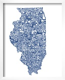 Typographic Illinois Blue
