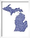 Typographic Michigan Navy