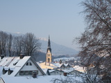 Bad Tolz Spa Town Covered By Snow at Sunrise  Bavaria  Germany