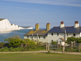 View of the Seven Sisters Cliffs  the Coastguard Cottages on Seaford Head  East Sussex