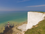 Beachy Head Lighthouse  White Chalk Cliffs and English Channel  East Sussex  England  Uk