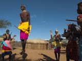 Samburu Tribesmen Performing Traditional Dance  Loisaba Wilderness Conservancy  Laikipia  Kenya