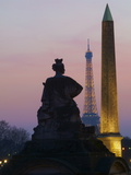 Place De La Concorde and Eiffel Tower in the Evening  Paris  France  Europe