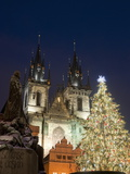 Christmas Tree  Gothic Tyn Church and Statue of Jan Hus  Old Town Square  Stare Mesto  Prague