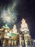 Firework Display Over the Cathedral  Morelia  Michoacan State  Mexico  North America