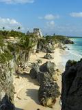 Tulum Beach and El Castillo Temple at Ancient Mayan Site of Tulum  Tulum  Quintana Roo  Mexico