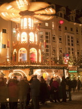 Hot Wine (Gluhwein) Stall With Nativity Scene on Roof at Christmas Market  Dresden  Germany