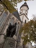 Statue of Bach  Thomaskirche  Leipzig  Saxony  Germany  Europe