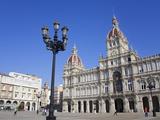 Palacio Municipal (Town Hall) on Plaza De Maria Pita  La Coruna City  Galicia  Spain  Europe