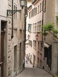 Narrow Street in Old Town  Zurich  Switzerland  Europe