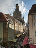 Frauenkirche Looming Over Shopping Area  Dresden  Saxony  Germany  Europe
