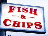Fish and Chips Sign in Conwy  Clwyd  Wales  United Kingdom  Europe