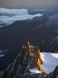 Sunrise on Aiguille Du Midi Cable Car Station  Mont Blanc Range  Chamonix  French Alps  France