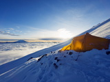 Tent on Volcan Cotopaxi  5897M  Highest Active Volcano in the World  Ecuador  South America