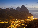 The Pitons and Soufriere at Night  St Lucia  Windward Islands  West Indies  Caribbean