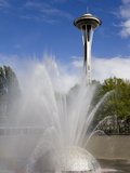 International Fountain and Space Needle at the Seattle Center  Seattle  Washington State  USA